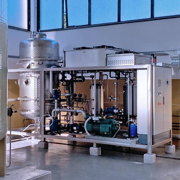 Evaporatore sottovuoto a pompa di calore